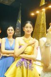 Beautiful female models show gold jewelry at the Shenzhen International Jewelry Show Royalty Free Stock Image