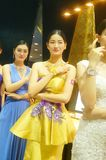 Beautiful female models show gold jewelry at the Shenzhen International Jewelry Show Royalty Free Stock Photo