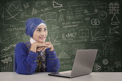 Beautiful female muslim study with laptop at classroom Royalty Free Stock Photos