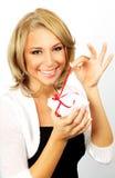 Beautiful female opening gift Stock Photos