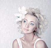 Beautiful female with original make up Royalty Free Stock Photos