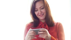 Businesswoman using smart phone. stock footage