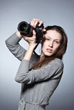 Beautiful female photographer Royalty Free Stock Photography