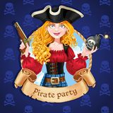 Beautiful female pirate with bomb. Banner for Pirate party Stock Photos