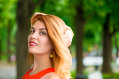 Beautiful female portrait outdoors Stock Photos
