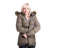 Beautiful female posing with warm winter and jacket Royalty Free Stock Photos
