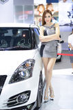 Beautiful female presenters model of motor show Stock Images