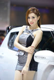 Beautiful female presenters model of motor show Stock Photos