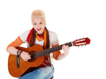 Beautiful female rock star. Young and beautiful female rock star Stock Images