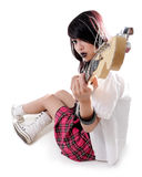 Beautiful female rocker with guitar Stock Image