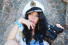 Beautiful female sailor Stock Photography