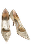 Beautiful female shoes. On a white background royalty free stock photography