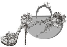 Beautiful female shoes and bags. With butterfly Stock Image