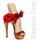 Beautiful female shoes. Beautiful female high-heeled shoes on a white background Stock Images