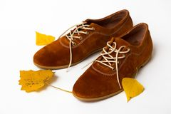 Beautiful women shoes. Beautiful female shoes on laces on a white background and autumn leaves stock photos