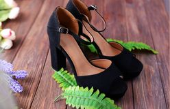 Beautiful female shoes sandals black. On heel on a wooden background with leaves stock photography