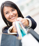 Beautiful female shopper Stock Photography