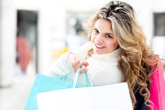 Beautiful female shopper Royalty Free Stock Image