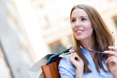Beautiful female shopper Stock Image