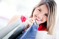 Beautiful female shopper Stock Photos