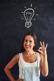Beautiful female showing ok sign against chalk drawing of light Stock Images