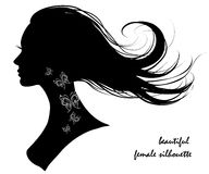 Beautiful female silhouette. Hair, face, girl Stock Photography