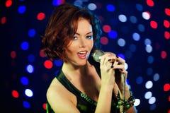 Beautiful Female Singer Royalty Free Stock Photo