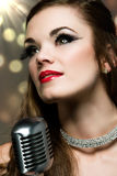 Beautiful female singer Royalty Free Stock Photos
