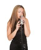 Beautiful female singer Royalty Free Stock Image