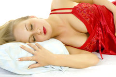 Beautiful female sleeping. Royalty Free Stock Photo