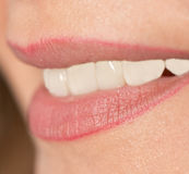Beautiful female smile. A beautiful female smile. macro Stock Images