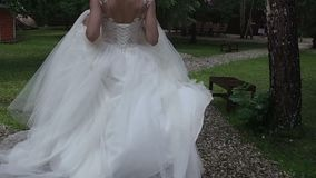 Beautiful Female Spinning Bride Dress Slow Motion Forest Nature stock video footage