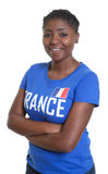 Beautiful female sports fan from France. On an  white background for cut out Royalty Free Stock Photos