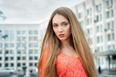 Beautiful female in street Royalty Free Stock Photo