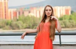Beautiful female in street Royalty Free Stock Photos