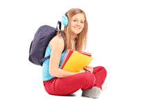 Beautiful female student with backpack Royalty Free Stock Photo