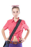 Beautiful female student with blue bag Royalty Free Stock Images