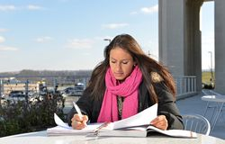 Beautiful female student outside of building Stock Photography