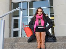 Beautiful female student outside of building Stock Images