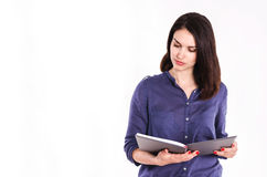 Beautiful Female Student Reading Stock Images