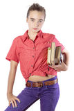 Beautiful female student with some books Royalty Free Stock Image