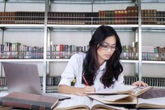 Beautiful female student studying in a library stock photo
