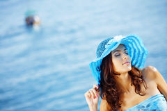 Beautiful female in summer vacation Stock Images