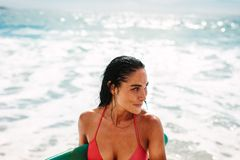 Free Beautiful Female Surfer At The Sea Stock Images - 149074174