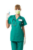 Beautiful female surgeon in mouth mask with injection Royalty Free Stock Photo