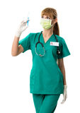 Beautiful female surgeon in mouth mask with injection Royalty Free Stock Photography