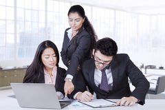 Beautiful female team leader and her employees Stock Photography