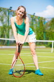 Beautiful female tennis player Royalty Free Stock Photos