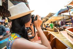 Beautiful female traveler travel in Thailand royalty free stock images
