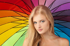 Beautiful female with umbrella Royalty Free Stock Images